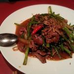空芯菜と牛肉の炒め