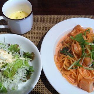 パスタランチ(ホタテと水菜のたらこクリームパスタ)(イロハダイニング (I・RO・HA dining))
