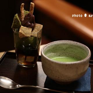 抹茶パフェ ドリンクセット(梅園 河原町店)