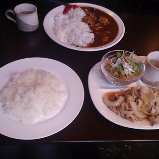 ポーク生姜焼きランチとカレーライス(レストラン タマガワ)