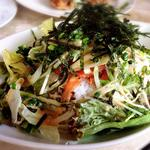 炙りスモークサーモンと水菜の和風ライスボール