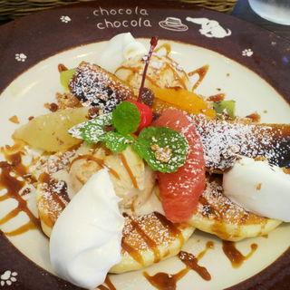 キャラメルナッツパンケーキ(北海道パンケーキカフェ チョコラ チョコラ)