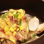 真鯛と夏野菜トウモロコシベーコンソース