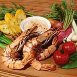 グリル海老と野菜のアイオリ