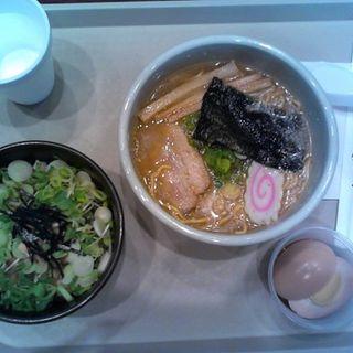Small Combo A - Shoyu ramen with cha-shu, rice topped with green onions, shoyu egg(Santouka Ramen)