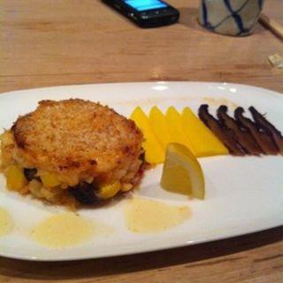 Lobster cake. Mango portabella mushroom(Soto)