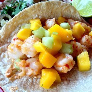 shrimp taco - garlic, chile marinade with mango and chipotle sauce(Tortilleria Nixtamal)