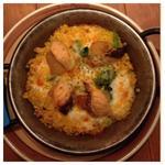 トロサーモンとほくほくポテトのトリプルチーズパエリア