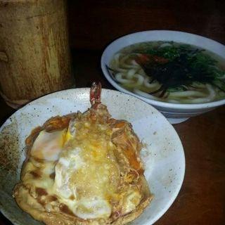 天丼&わかめうどん(かねいしうどん)
