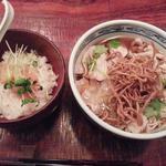 豚ばら肉ときざみ葱の生姜あんかけそばと明太子おろしご飯(松玄)
