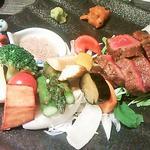 豊後牛と旬野菜の炭火焼(120g)