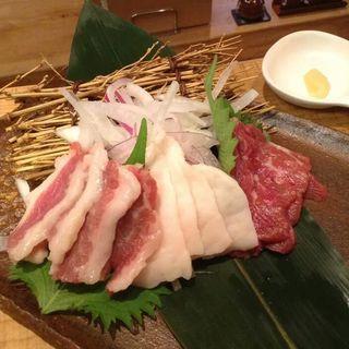 馬肉の三種盛り(鎌倉ごはん海月)