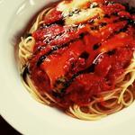 モッツァレラチーズのバジリコソースかけ・パスタ