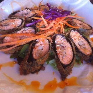 Stuffed Salmon roll w green Salad(PMarin Thai)