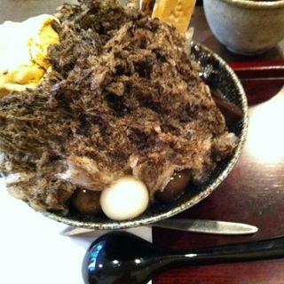 ほうじ茶カキ氷とお茶のセット(森乃園)