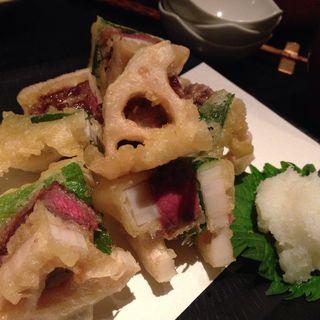 レンコンの牛肉挟み揚げ(青山 川上庵 (あおやま かわかみあん))