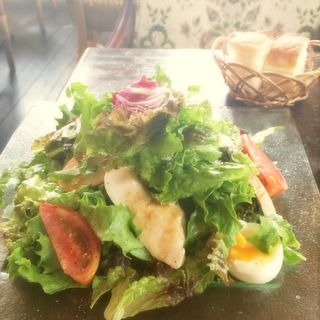 自家製鶏ハム 半熟卵のサラダ(HUIT harajuku)