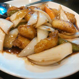 白身魚の黒酢炒め定食(中華料理 唐園 )