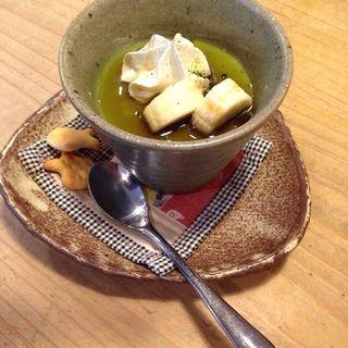 宇治抹茶ミルクプリン(ドリンク付)(フジヤマプリン )