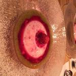 苺の杏仁豆腐セクシーミントソース