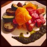 野菜とベーコンのソテー自家製ジェノベーゼ