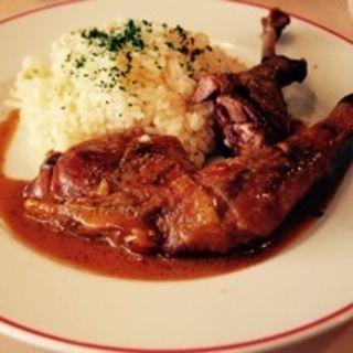 ホロホロ鶏とバターライス(パリのワイン食堂)