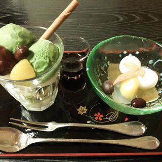 ミニパフェ&ミニ白玉セット(ぎおん楽楽)
