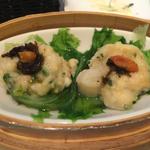 海鮮豆腐団子とレタススチーム中国漬け菜のせ