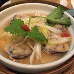 蛤をのせた中国茶碗点心 ネギ生姜と香り醤油で