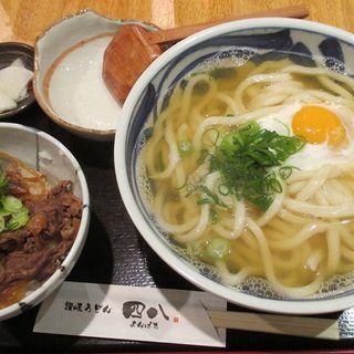 ミニすき焼き丼&月見うどん 大盛(讃岐うどん四八 )