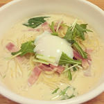 和風カルボナーラ豆乳スープ