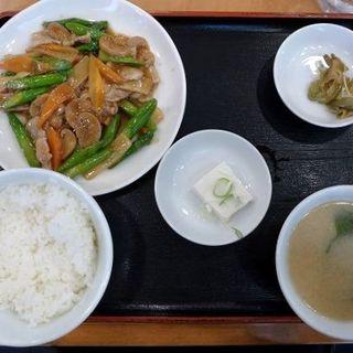 アスパラと豚肉のオイスターソース炒め定食(ラーメンパーク )