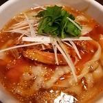 豆板醤で合えたネギチャーシュー刀削麺