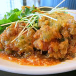 鶏モモ肉の磯辺揚げ 醤油麹のおろしソース