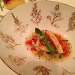 宮崎産白チョウザメの桜海老のパネ マリニエールソース