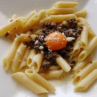 国産牛挽肉と丹波産卵黄のクリームソースペンネ(ランチ)(Amalfi NOVELLO)