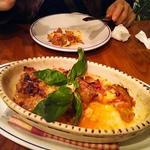 米ナス、モッツァレラ、パルメジャンチーズのオーブン焼き