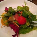 有機野菜、フルーツトマト、柑橘類のサラダ
