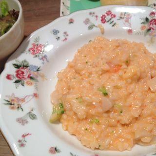 エビとホタテとブロッコリーのトマトクリームソースリゾット(Shinzi Katoh Cafe Dining シンジ カトウ カフェ ダイニング)