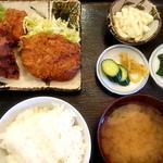 鶏の竜田揚げとコロッケ