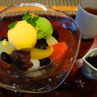 抹茶アイスのあんみつ(福寿園京都本店 京の茶寮 )