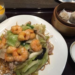 海老ワンタンのあんかけ翡翠麺セット(銀座アスター麺点庁 あべのハルカスダイニング店 )