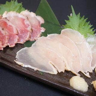 鶏刺し2種盛り(串じまん (くしじまん))