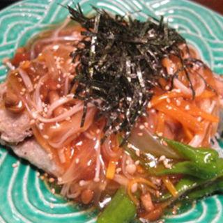 魚の唐揚げ野菜ときのこのあんかけ(珍竹林 )
