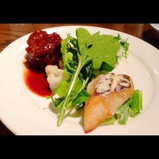 限定Aランチ(牛三枚肉の赤ワイン煮込みと 真鯛のおろし 生わさびクリームソース 水菜と大根のサラダ)(きゃんどる )