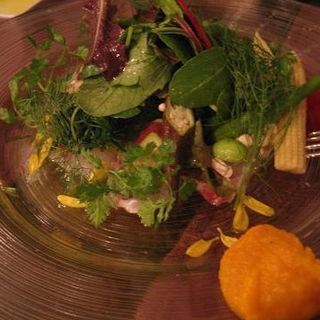 真鯛の昆布〆と十種類の野菜のカルパッチョ(小林食堂 )