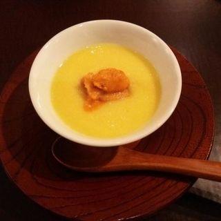 トウモロコシの冷製茶碗蒸し 雲丹(ディナーコース)(日本料理 太月)
