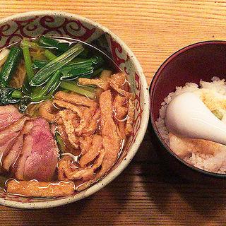 鴨と九条葱のきざみきつねそば&とろろご飯(松玄 恵比寿店 (まつげん))
