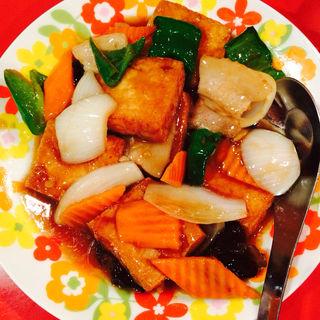 揚げ豆腐のあんかけ炒め(香味)