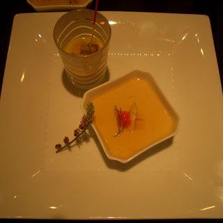 ホワイトアスパラガスのフラン 冷製コーンスープフォアグラ添え(ブラッセリー トモ (Brasserie Tomo))